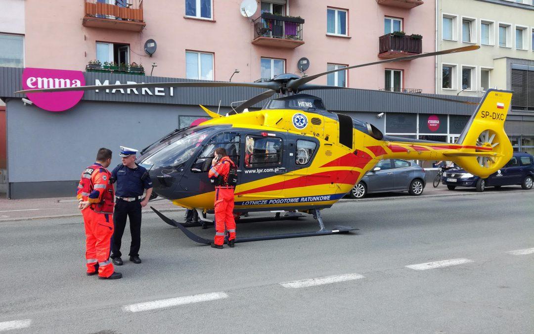Niespodziewane lądowanie śmigłowca na ulicy Oleskiej